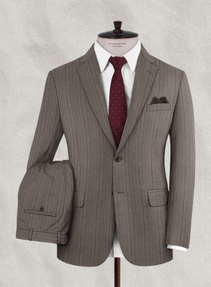 Zegna Belo Brown Stripe Wool Suit