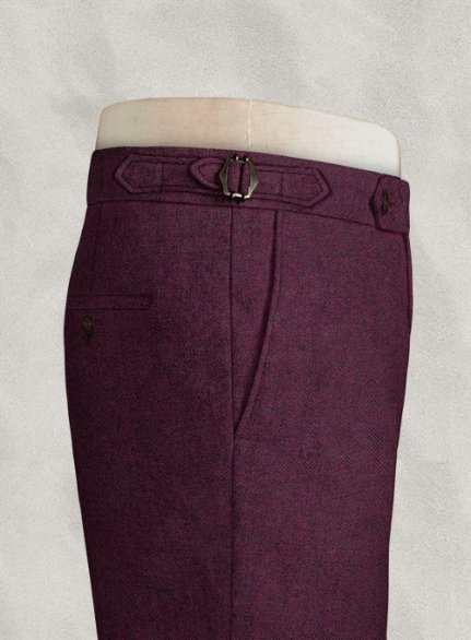 Wine Herringbone Highland Tweed Trousers