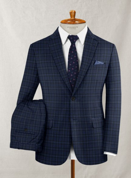 Reda Oterina Blue Checks Wool Suit