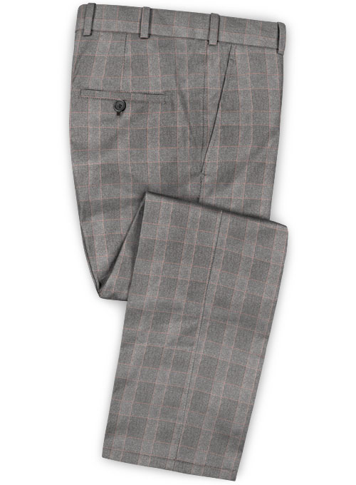 Gray Mont Checks Flannel Wool Pants - Click Image to Close