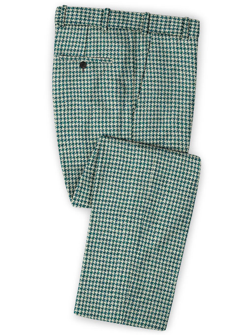 Harris Tweed Houndstooth Green Pants - Click Image to Close