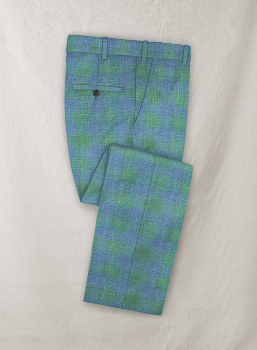 Italian Murano Blue Green Checks Wool Linen Pants - Click Image to Close