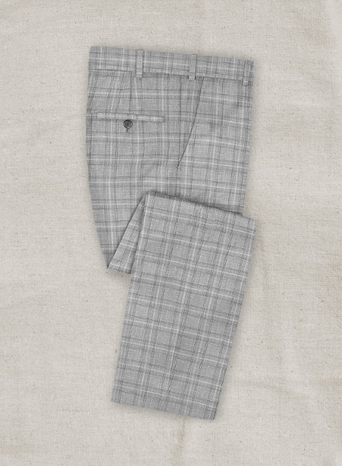 Italian Murano Earga Light Gray Wool Linen Pants - Click Image to Close