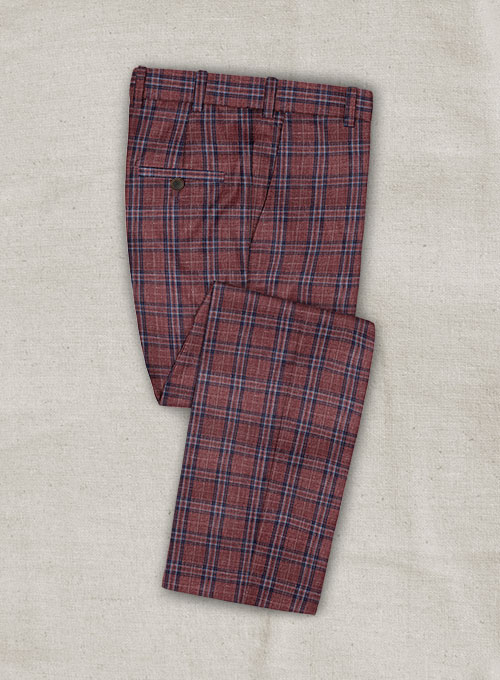 Italian Murano Lilo Checks Wool Linen Pants - Click Image to Close
