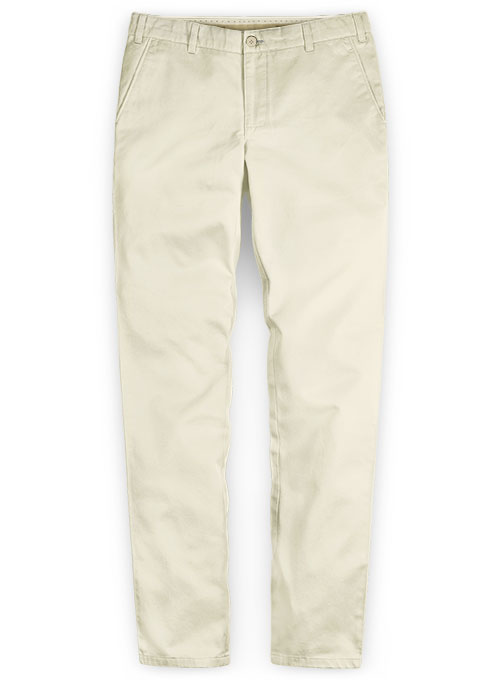 Washed Light Beige Feather Cotton Canvas Stretch Chino Pants - Click Image to Close