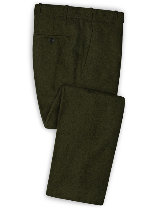 Light Weight Dark Green Tweed Pants Studiosuits Made To