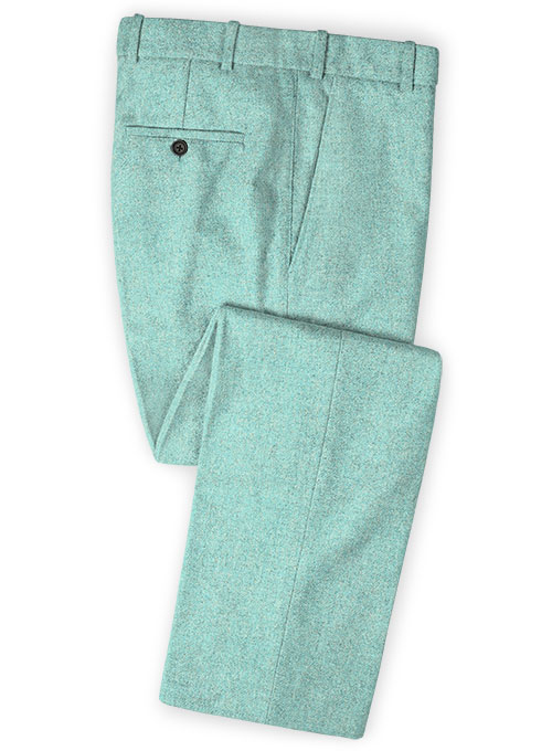 Melange Aqua Blue Tweed Pants - Click Image to Close