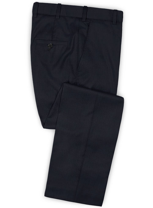 Napolean Self Satin Blue Wool Pants - Click Image to Close