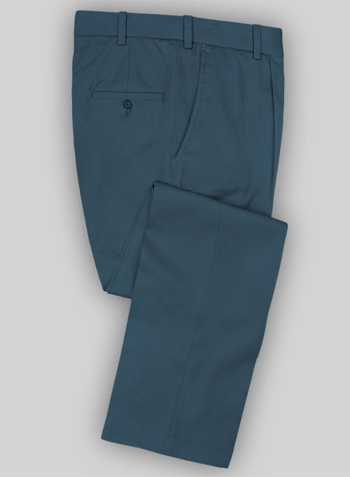 Powder Blue Peach Finish Twill Tailored Chinos
