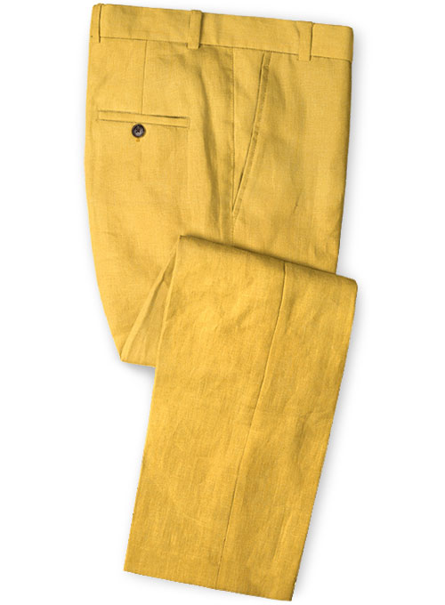 Pure Orchid Yellow Linen Pants Studiosuits Made To