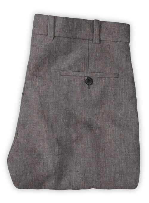 Solbiati Raw Brown Linen Pants - Click Image to Close