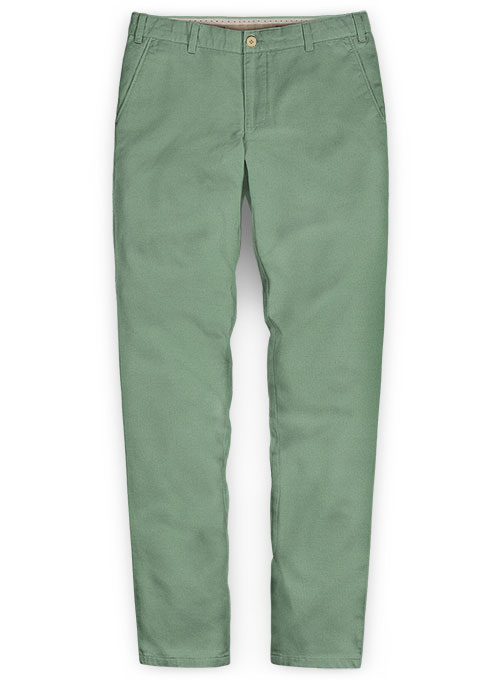Washed Stretch Summer Weight Spring Green Chino Pants - Click Image to Close