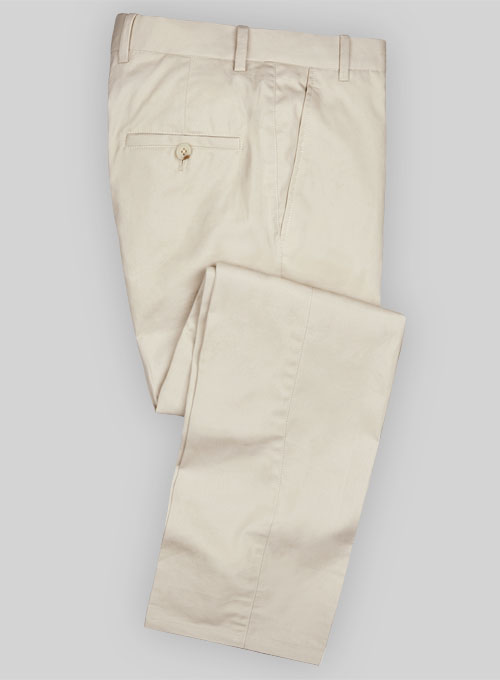 fbc93d6db157 Summer Weight Lt Beige Tailored Chinos   StudioSuits  Made To Measure  Custom Suits
