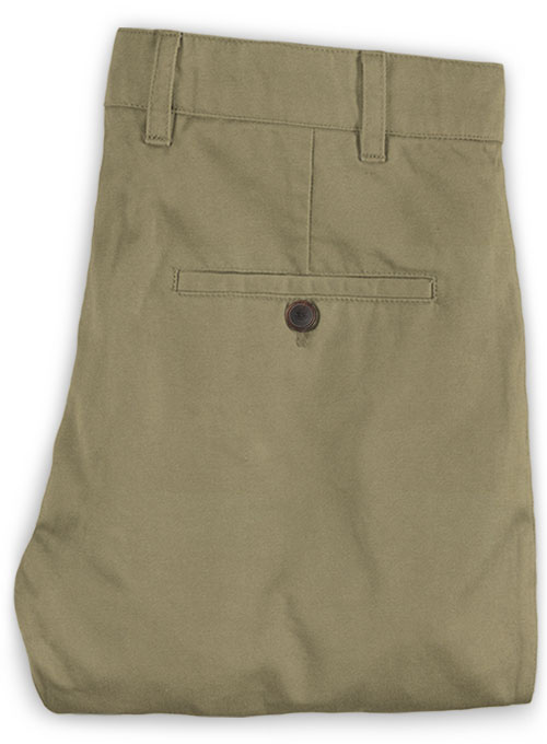 Washed Summer Weight Stone Khaki Chinos - Click Image to Close