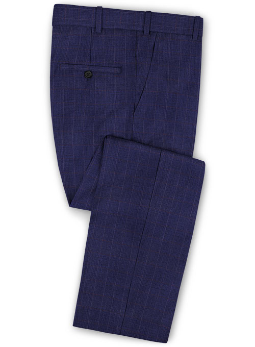b2a13eeef88c Tap Blue Cotton Wool Stretch Pants   StudioSuits  Made To Measure Custom  Suits