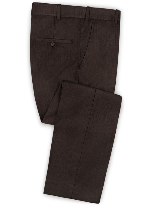 Worsted Dark Brown Wool Pants - Click Image to Close