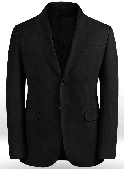 Black Suede Faux Leather Blazer