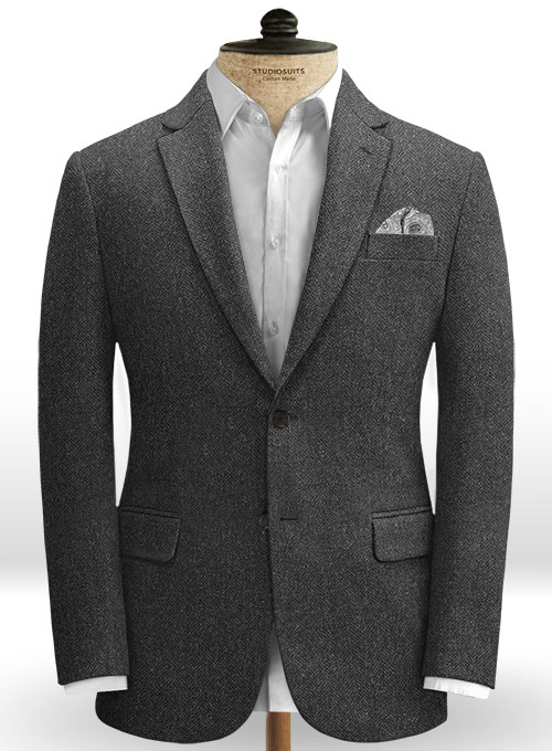 Charcoal Herringbone Tweed Jacket - Click Image to Close