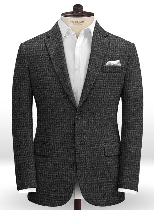Harris Tweed Houndstooth Charcoal Jacket - Click Image to Close