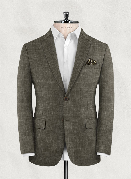 Italian Murano Mud Brown Wool Jacket - Click Image to Close