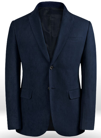 Navy Suede Faux Leather Blazer