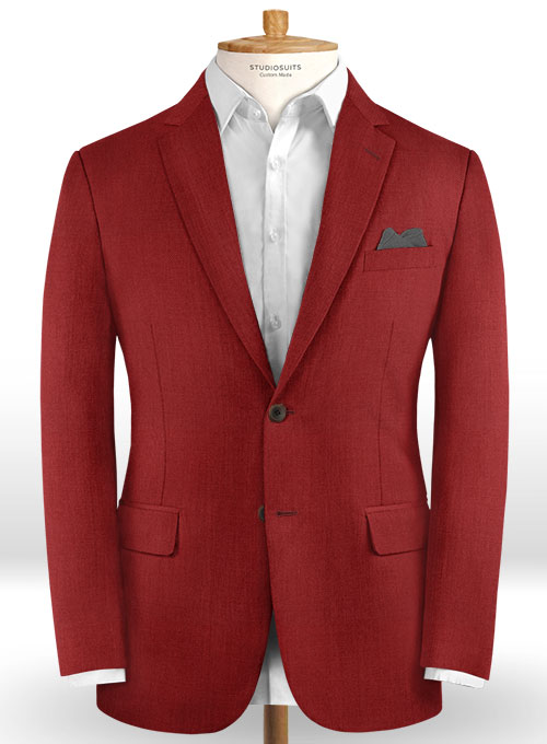 Scabal Ed Red Wool Jacket - Click Image to Close