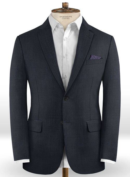 Sharkskin Blue Wool Jacket - Click Image to Close
