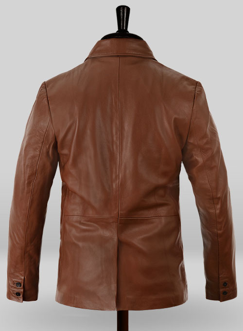 Tan Brown Leather Blazer