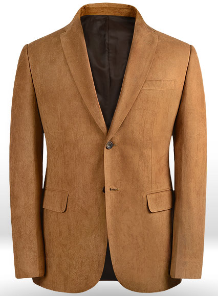 Tan Suede Faux Leather Blazer Studiosuits Made To