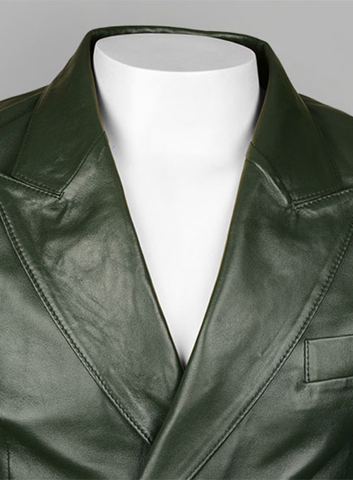 Vintage Green Leather Blazer