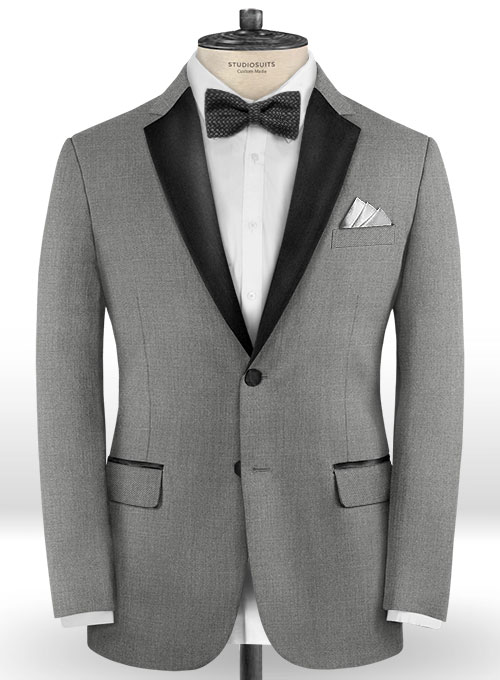 Worsted Mid Charcoal Wool Tuxedo Jacket - Click Image to Close