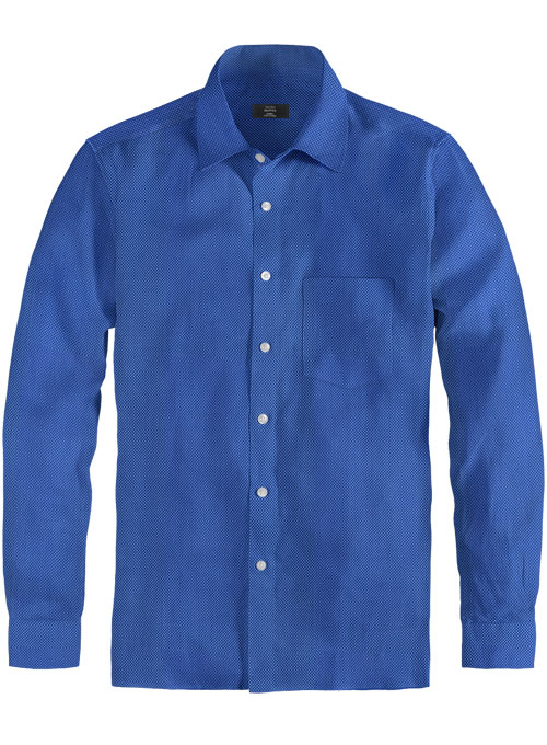 Birdseye Yale Blue Cotton Shirt