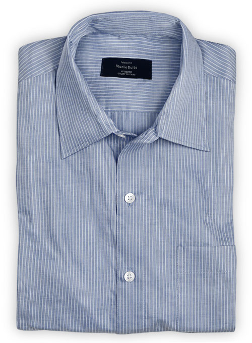 Giza Office Blue Cotton Shirt - Full Sleeves