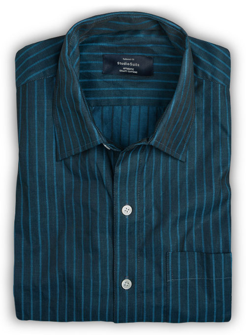 Imperia Blue Stripes Cotton Shirt - Full Sleeves