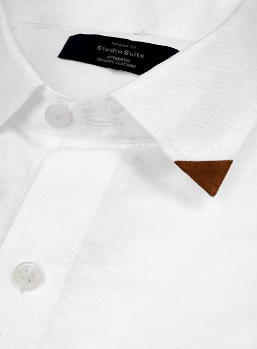 Leather Trim Linen Shirt