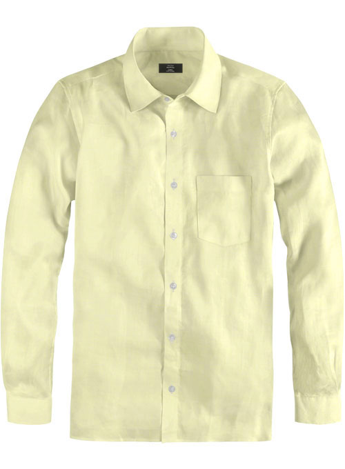 Naples Yellow Cotton Linen Shirt - Click Image to Close