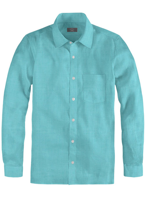 Pure Aqua Blue Linen Shirt