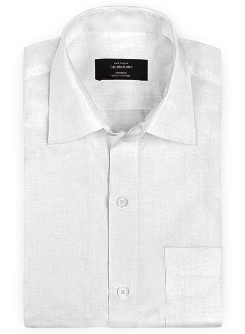 Pure White Linen Shirt Studiosuits Made To Measure