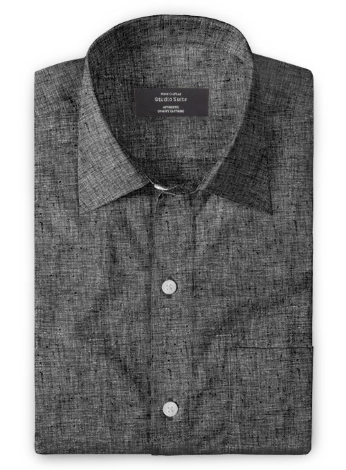 Roman Black Denim Linen Shirt