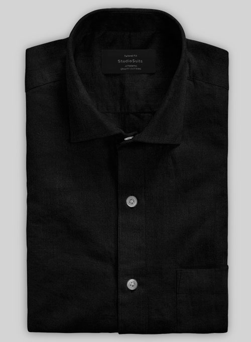 Washed Black Cotton Linen Shirt