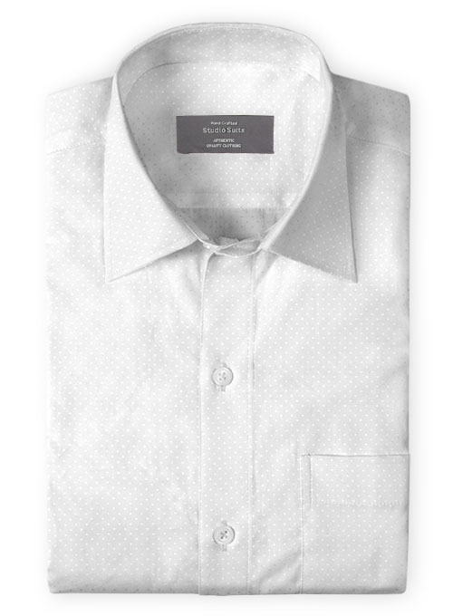 White Self Square Motif Shirt - Click Image to Close