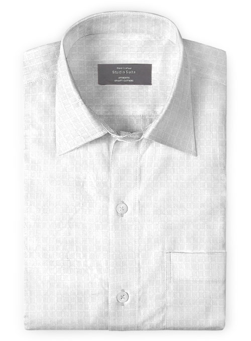 White Self Square Shirt