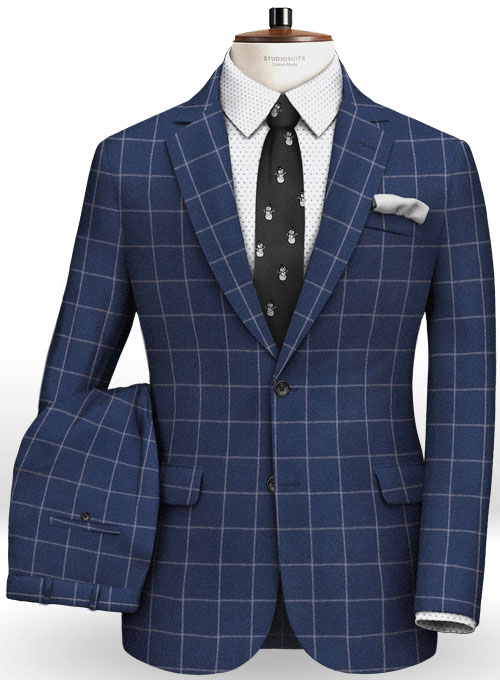 Blue Windowpane Flannel Wool Suit Studiosuits Made To