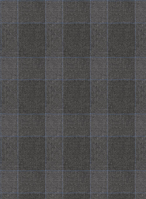 Charcoal Mont Checks Flannel Wool Suit - Click Image to Close