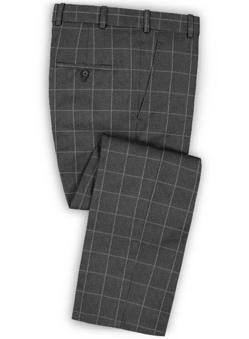 Charcoal Windowpane Flannel Wool Suit Studiosuits Made