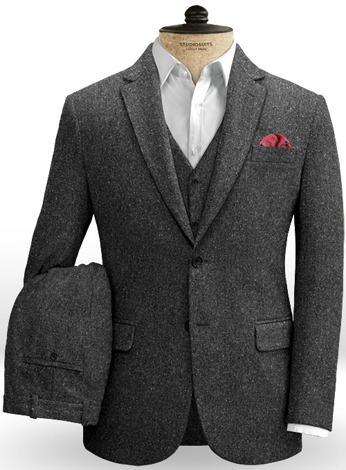Charcoal Flecks Donegal Tweed Suit - Click Image to Close