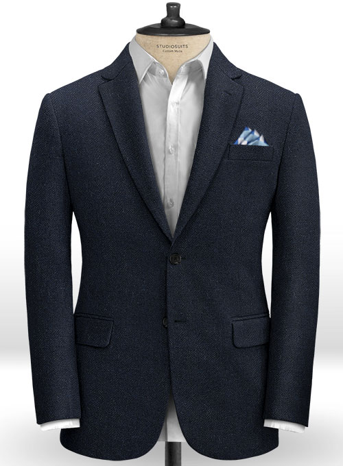 Deep Blue Herringbone Tweed Suit - Click Image to Close