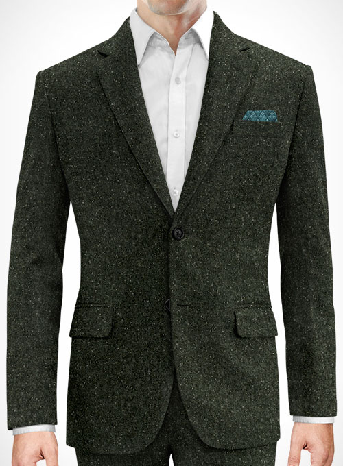 Dark Olive Flecks Donegal Tweed Suit - Click Image to Close
