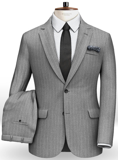 Gray Stripe Flannel Wool Suit - Click Image to Close