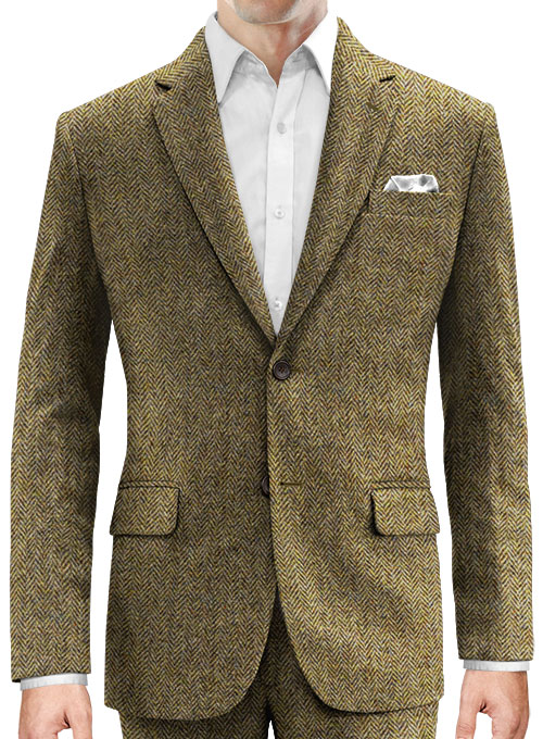 Harris Tweed Hebridean Brown Herringbone Jacket - Click Image to Close